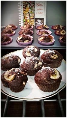 Kakaovo-orieškové muffiny s banánom